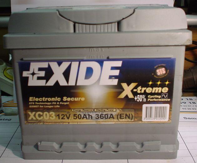 EXIDE X-TREME-Starterbatterie 12V/50Ah(C20)